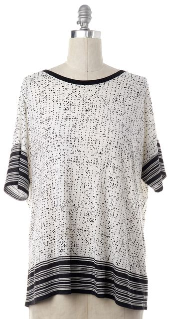 VINCE White Abstract Blouse Top