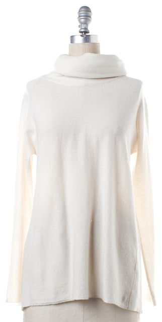VINCE Ivory Cashmere Cowl Neck Knit Sweater