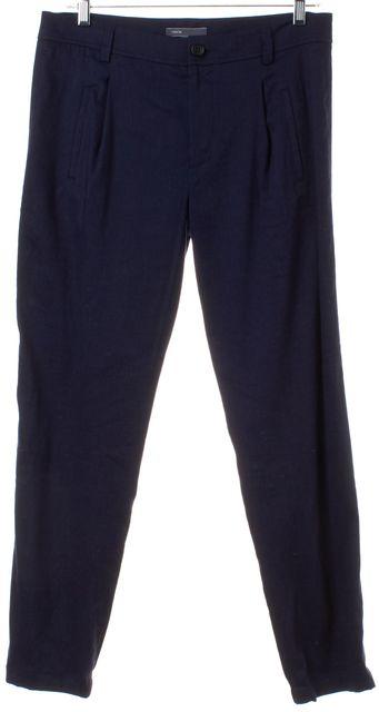 VINCE Blue Linen Casual Pants