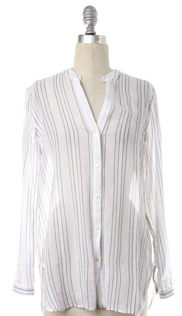 VINCE White Black Striped Collarless Button Down Shirt Top