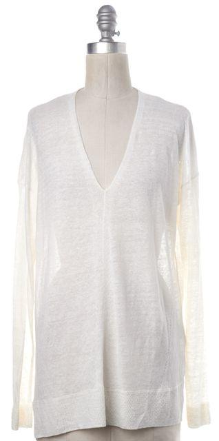VINCE White Linen V-Neck Sweater