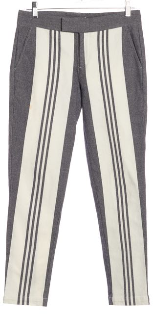 VINCE Gray White Striped Casual Pants