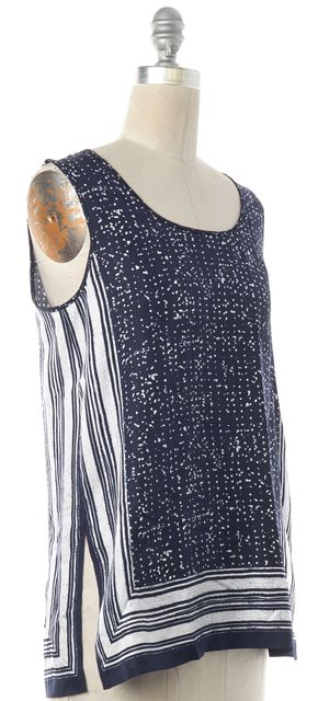 VINCE Blue Abstract Print Striped Silk Tank Top