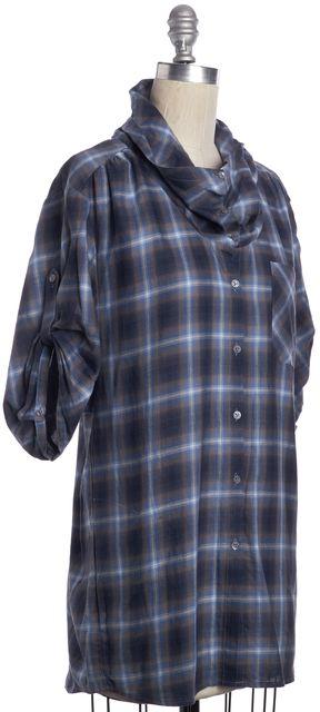 VINCE Navy Blue Gray Plaid Cowl Neck Cotton Button Down Shirt Top