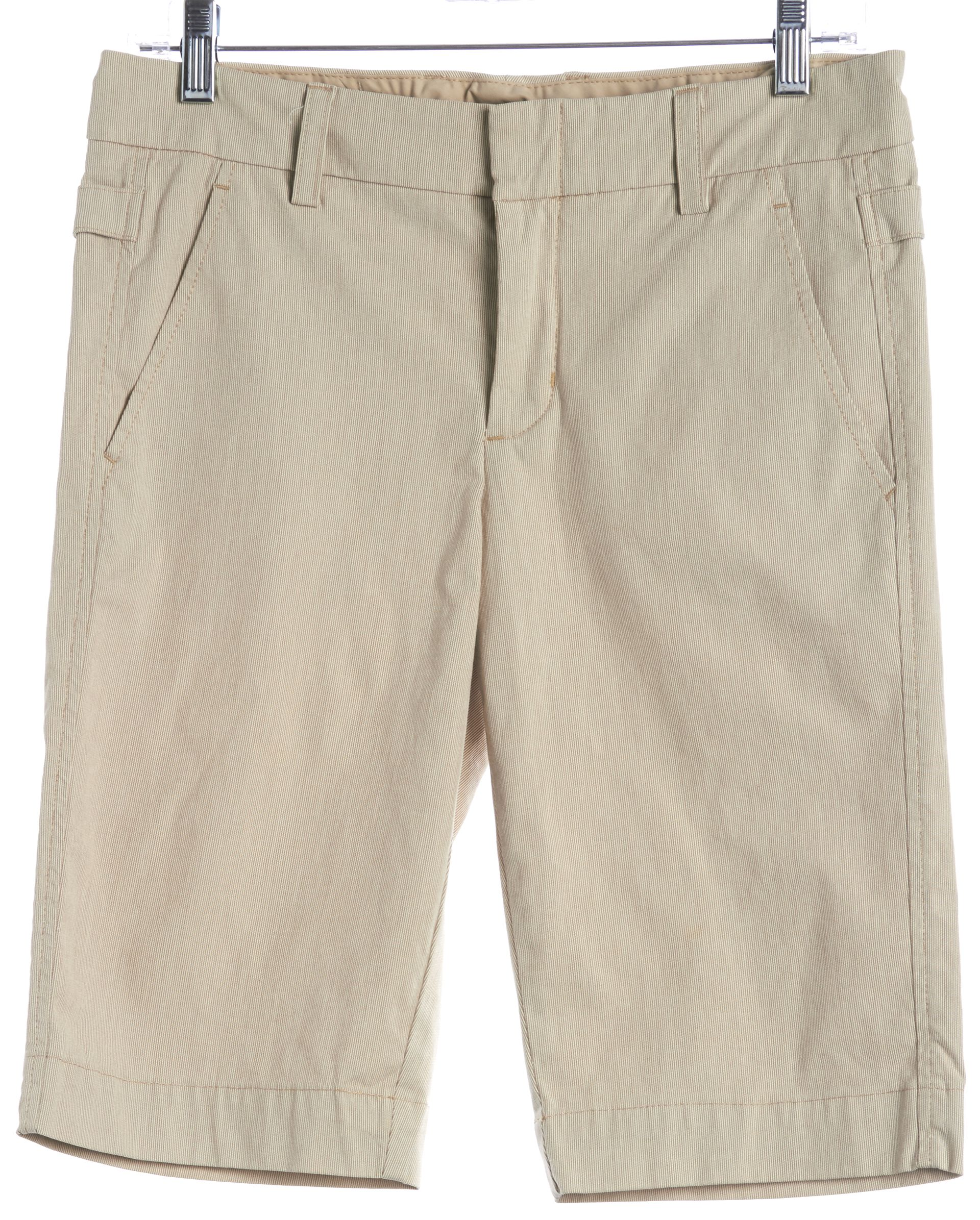 Vince Beige White Striped Bermuda Shorts | Material World