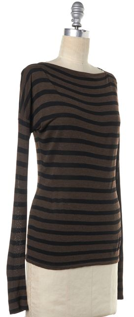 VINCE Brown Black Striped Long Sleeve Boat Neck Basic Tee Top