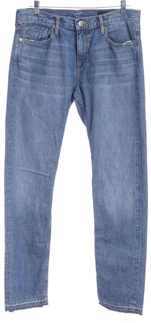 VINCE Talmage Blue Cotton Distressed Hem Relaxed Jeans