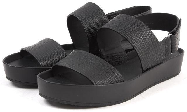 VINCE Matte Black Lizard Embossed Leather Sandals