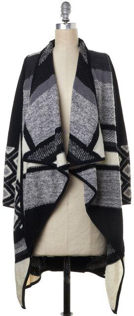 VINCE Black White Gray Striped Wool Front Open Asymmetric Sweater Coat