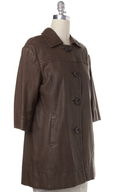 VINCE Brown Leather 3/4 Sleeve Long Jacket