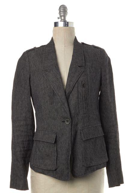 VINCE Gray Linen One Button Zip Pocket Blazer