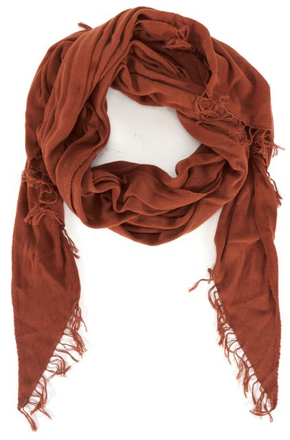 VINCE Red Rust Tissue Cotton Asymmetrical Fringe Trim Summer Scarf