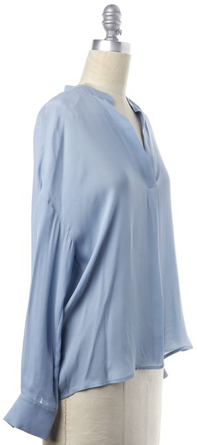VINCE Blue Silk Blouse Top