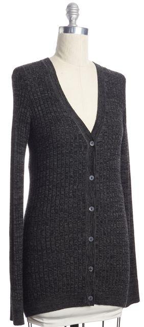 VINCE Gray Cashmere Knit V-Neck Cardigan Sweater