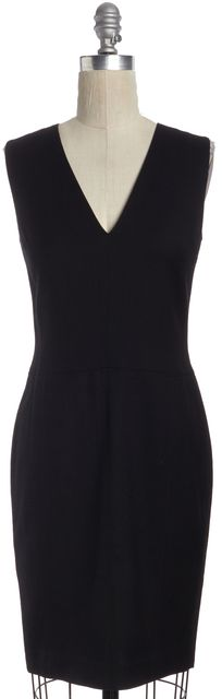 VINCE Black Sleeveless Knee Length V Neck Sheath Dress Fits Like