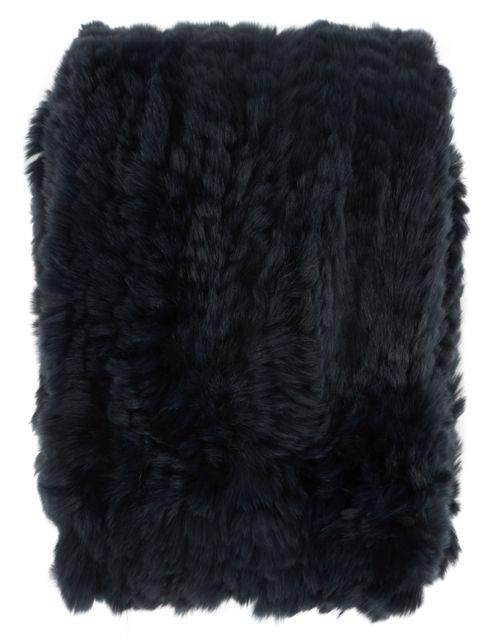 VINCE Navy Blue Rabbit Fur Scarf