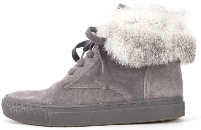 VINCE Gray Suede Fur Trim High Top Lace Up Sneakers
