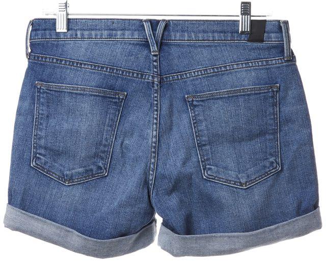 VINCE Blue Medium Wash Faded Cuffed Denim Shorts
