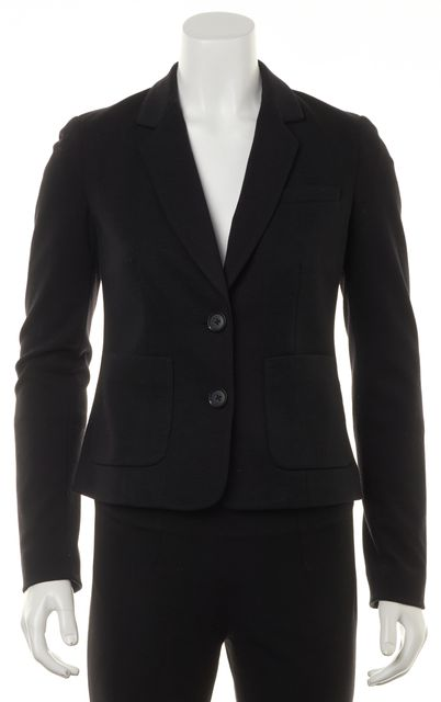VINCE Black Wool Jersey Two Button Pocket Front Classic Blazer