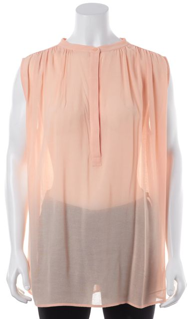 VINCE Salmon Pink Sheer Sleeveless Blouse