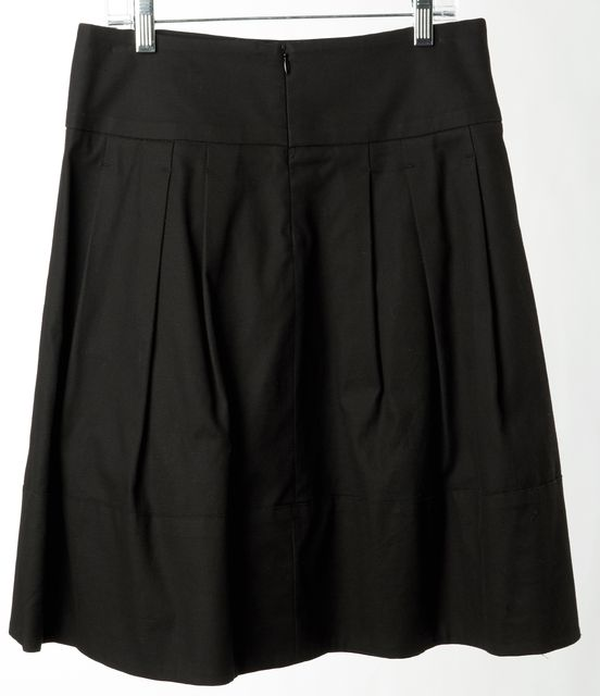 VINCE Cotton Black Pleated Skirt