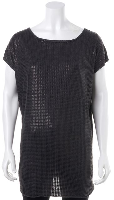 VINCE Gray Sequin Embellished Cap Sleeve Tee Top