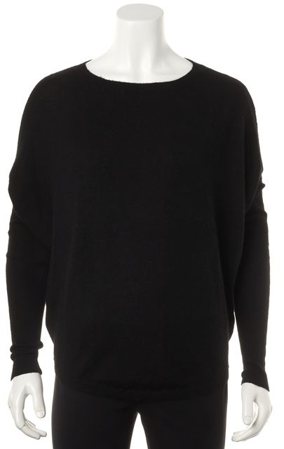VINCE Black Cashmere Long Sleeve Batwing Crewneck Knit Top
