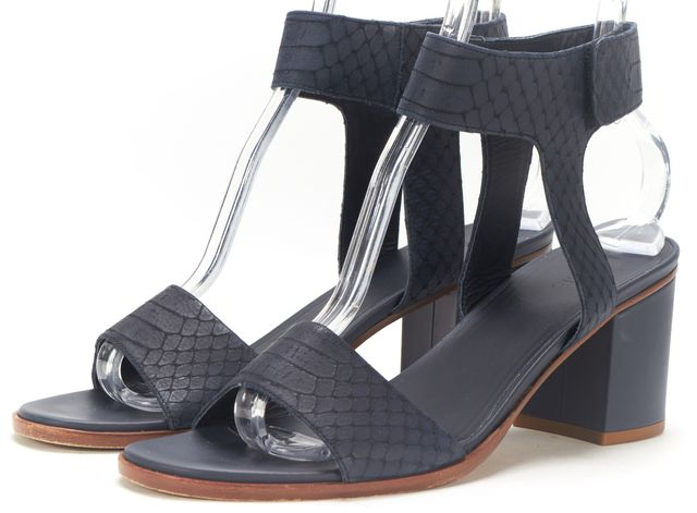VINCE Navy Blue Snake Embossed Leather Ankle Strap Sandal Heels