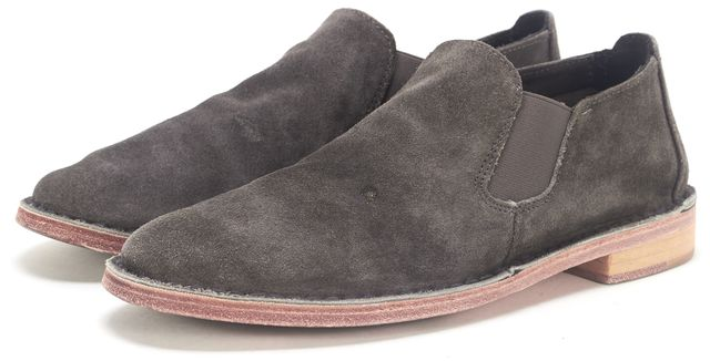 VINCE Charcoal Gray Suede Ankle Slip-on Casual Flat Boots