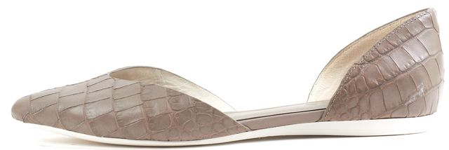 VINCE Gray Embossed Leather Slip On Flats