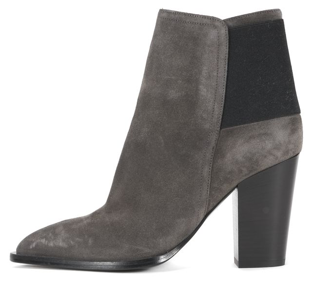 VINCE Grey Suede Almond Toe Block Heel Ankle Boots