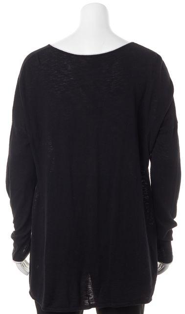 VINCE Black White Trim Long Sleeve Knit Top