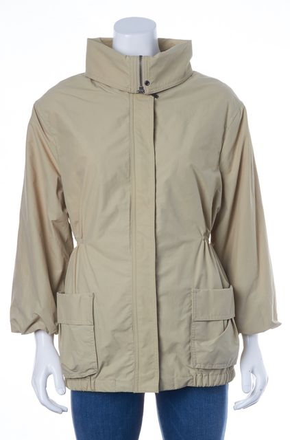 VINCE Beige Khaki Water Repellent Zip Up Patch Pocket Raincoat Jacket
