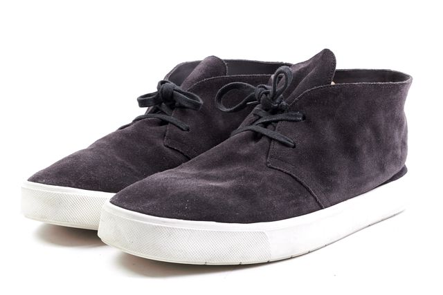 VINCE Charcoal Suede Lace Up Mid Top Sneakers