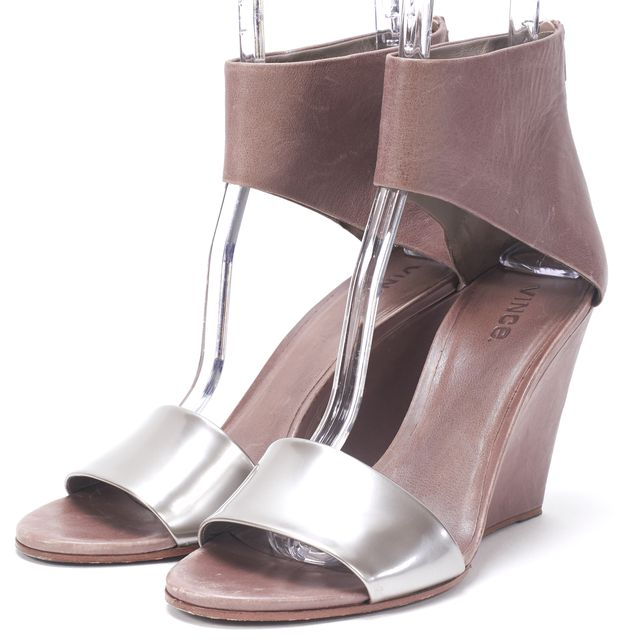 VINCE Silver Brown Leather Wedges