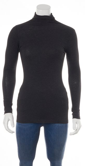 VINCE Black Long Sleeve Cotton Turtleneck Top