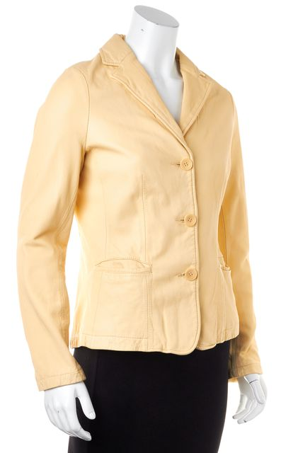 VINCE Yellow Genuine Leather 100% Cotton Lined Basic Jacket
