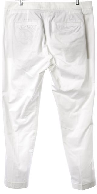 VINCE White Stretch Cotton Pleated Casual Pants