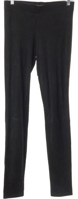 VINCE Black Suede Leather Casual Slim Fit Skinny Leg Pants Leggings