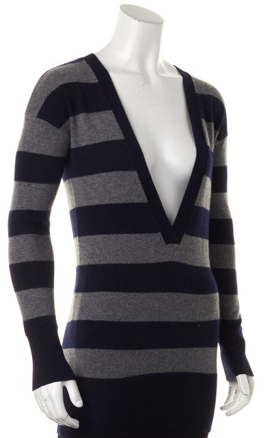 VINCE Navy Blue Gray Striped Cashmere Long Sleeve V-Neck Sweater