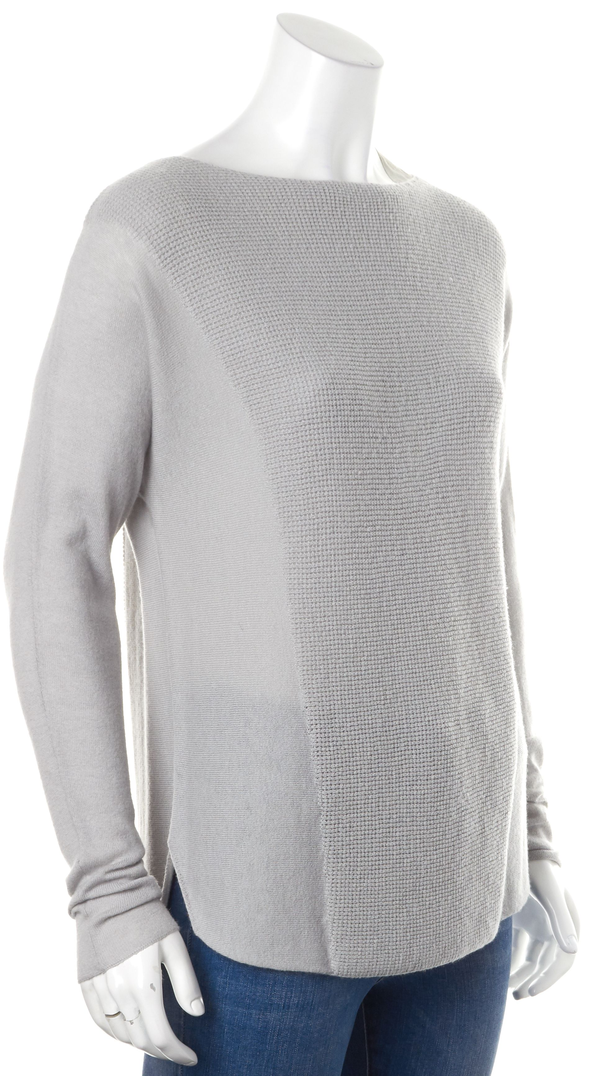 Vince Gray Wool Casual Relaxed Fit Boat Neck Long Sleeve Knit ...