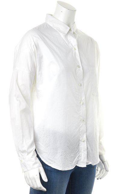 VINCE White Cotton Long Sleeve Button Down Shirt Blouse
