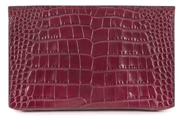 VINCE Red Purple Burgundy Embossed Leather Flap Slim Clutch Bag