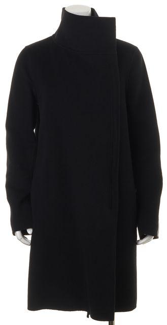 VINCE Black Wool Blend Leather Trim High Neck Zip-Up Basic Coat
