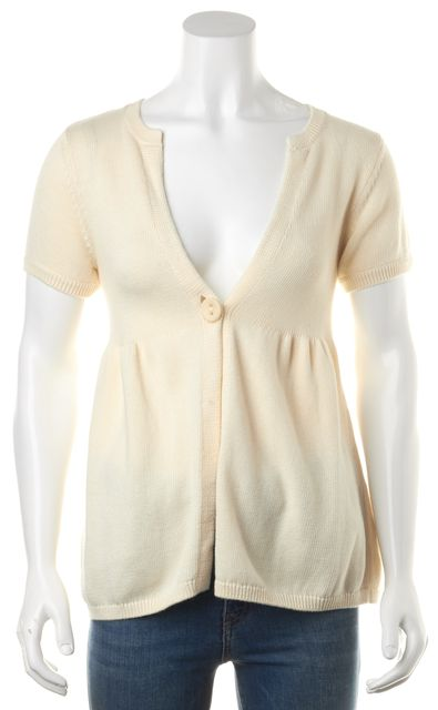 VINCE Ivory Cotton Cashmere Knit Short Sleeve One Button Cardigan Sweater