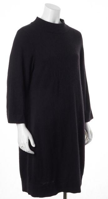 VINCE Black Cashmere Mock Neck Knee-Length Sweater Dress