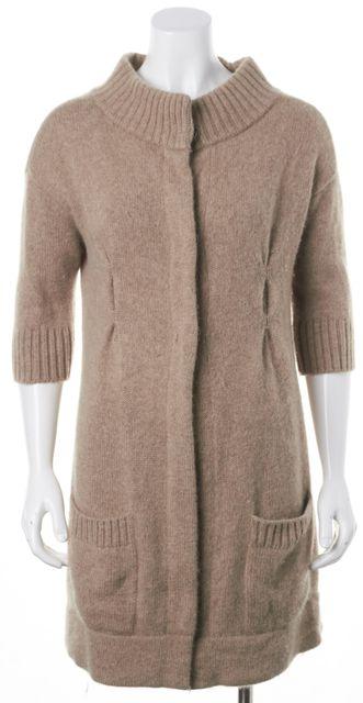 VINCE Beige Cashmere Snap Front Pocket 3/4 Sleeve Cardigan