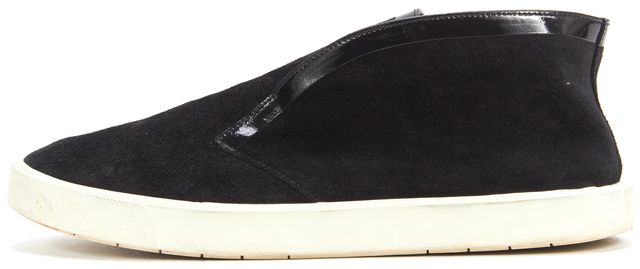 VINCE Black Suede Patent Leather Trim Slip-On Sneakers