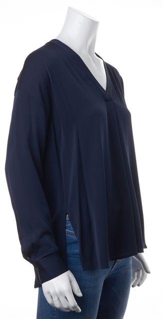 VINCE Navy Silk V-Neck Top