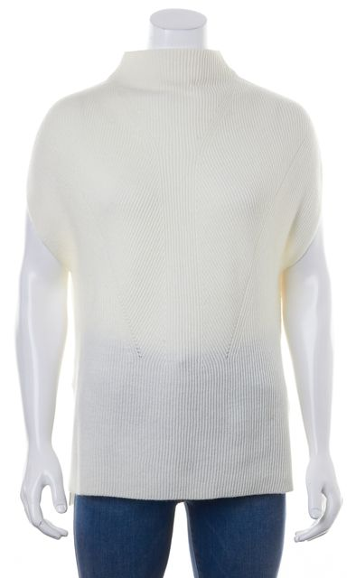 VINCE Ivory Wool Mock Neck Cap-Sleeve Relaxed Fit Casual Sweater